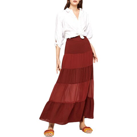 BCBGeneration Womens Maxi Skirt Printed Tiered