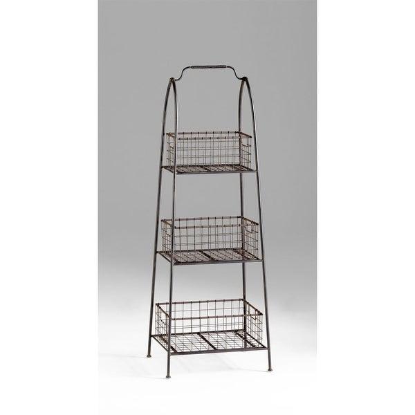 Cyan Design 4725 3 Shelf Essex Basket Stand - raw steel - N/A