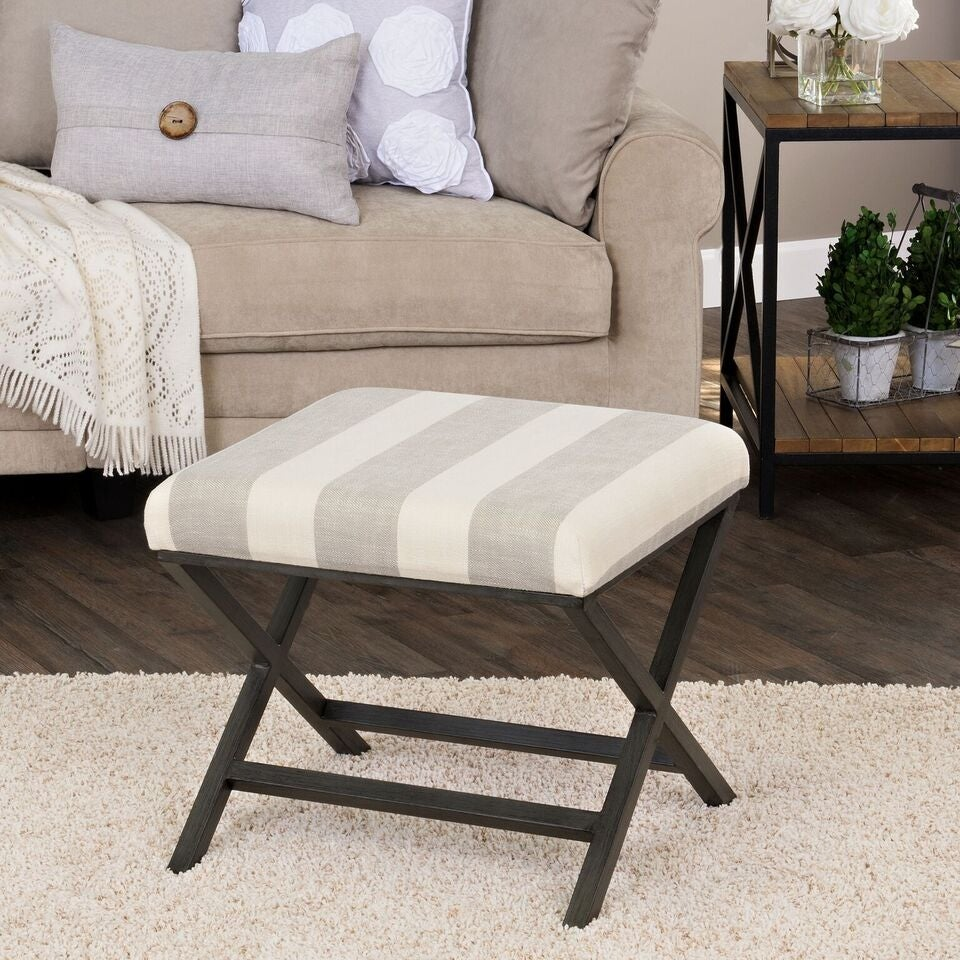 Alderson Upholstered Grey and Cream Striped Ottoman with Bronze Metal Finish. Opens flyout.