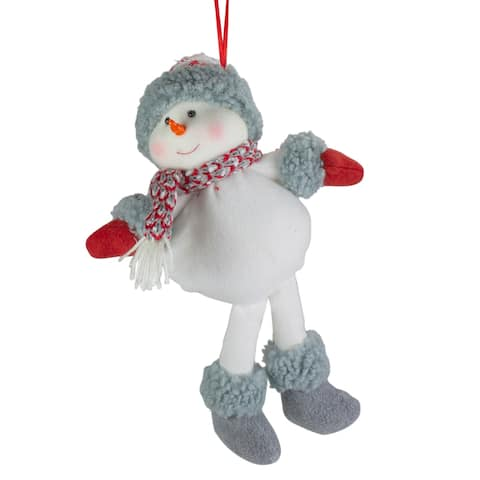 """14"""" Gray and Red Plush Snowman Hanging Christmas Ornament"""