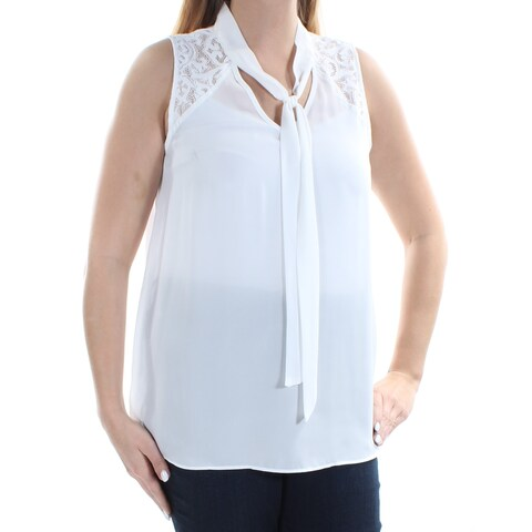 BCX Womens Ivory Sheer W/o Cami Sleeveless Tie Neck Top Juniors Size: L
