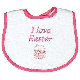 """Raindrops Baby Girls Strawberry """"I Love Easter"""" Embroidered Bib - One size"""