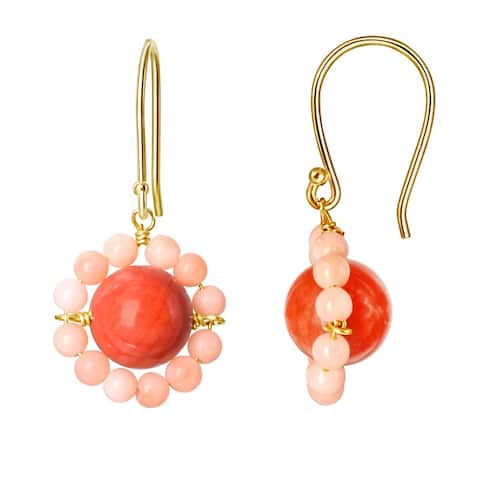 14K Dyed/Natural Coral Flower Earrings