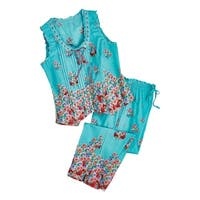La Cera Women's Aqua Roses Pajamas - Blue PJ Sleeveless Shirt Capri Pants Set