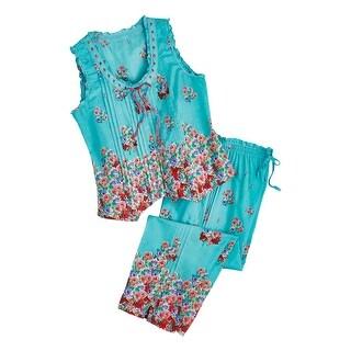 La Cera Women's Aqua Roses Pajamas - Blue PJ Sleeveless Shirt Capri Pants Set (More options available)