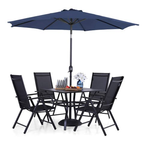 PHI VILLA 6-piece Patio Dining Set, 1 Square Metal table, 4 Adjustable Folding Chairs and 9ft Umbrella