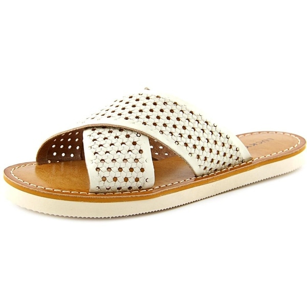 Lucky Brand Dadeen 2 Women Open Toe Leather White Slides Sandal