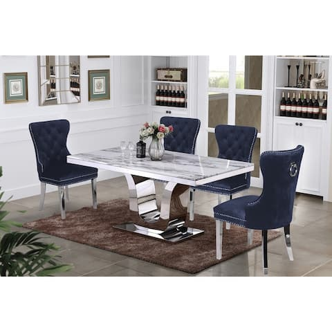 Best Quality Furniture White Genuine Marble 5-Piece Dining Set
