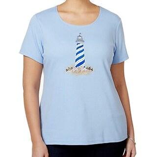 Karen Scott NEW Blue Lighthouse Print 1X Plus Graphic Embroidered T-Shirt