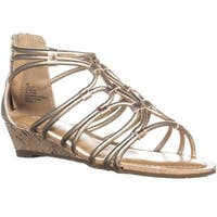 ESPRIT Cecile Zip Up Wedge Strappy Sandals, Gold - 6 us