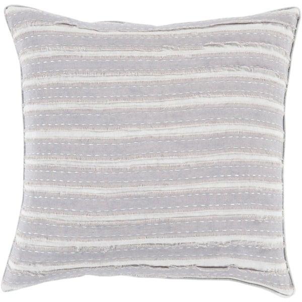 "18"" Cream White and Gray Striped Applique Woven Square Throw Pillow"