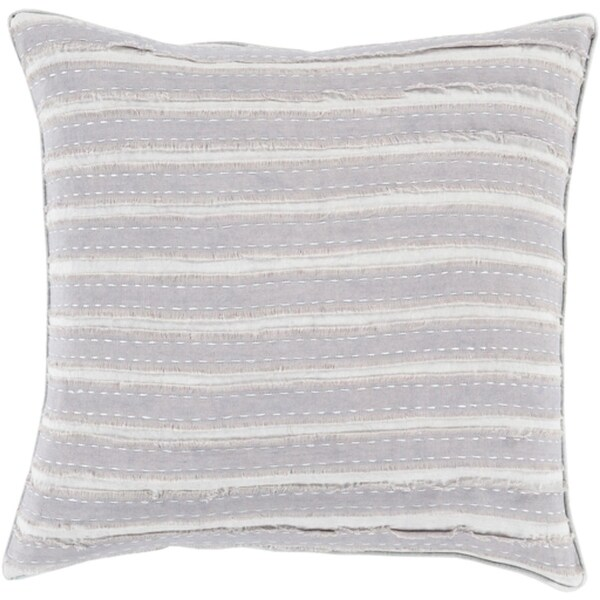 """22"""" Rainy Day and Haze Gray Striped Woven Decorative Throw Pillow-Down Filler"""