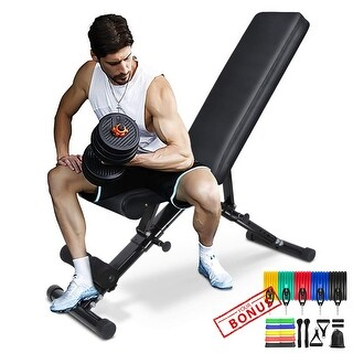 Link to Adjustable Folding Weight Bench Strength Training Bench for Full Body Workout + 16PC Resistance Bands Set Similar Items in Fitness & Exercise Equipment