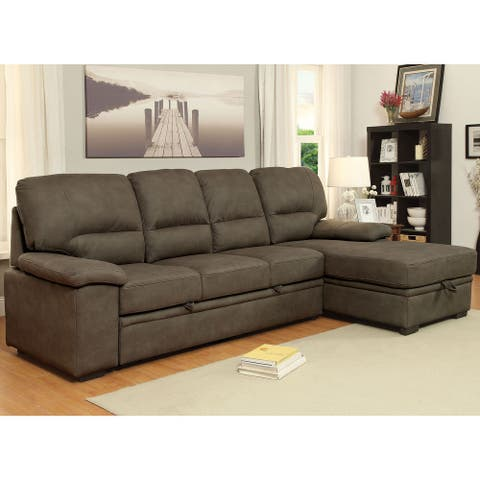 Furniture of America Werr Contemporary Leather Sleeper Sectional