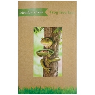 Meadow Creek ZAC844417 Resin Frog Tree Face Birdfeeder, Green