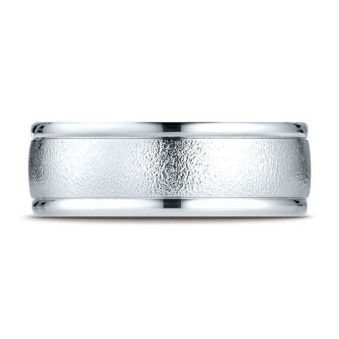 Platinum 8mm Comfort-fit Wire Brush Finish High Polished Round Edge Carved Design Band