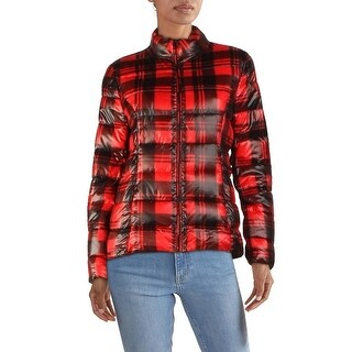 Link to Aqua Womens Puffer Jacket Winter Packable - Red Plaid Similar Items in Women's Outerwear