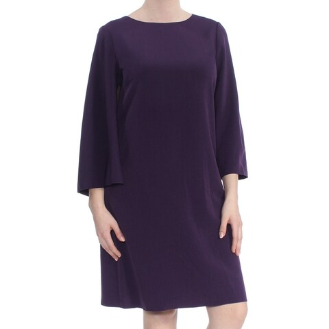 ANNE KLEIN Womens Purple Shift Wear To Work Dress Size: 8