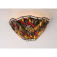 """Meyda Tiffany 99331 Spiral Dragonfly 12"""" Wide 2 Light Wall Washer with Stained Glass Shade - Mahogany Bronze"""