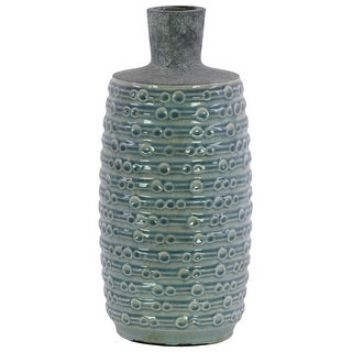 Ceramic Bottle Vase With Engraved Bubble Pattern, Large, Turquoise Blue
