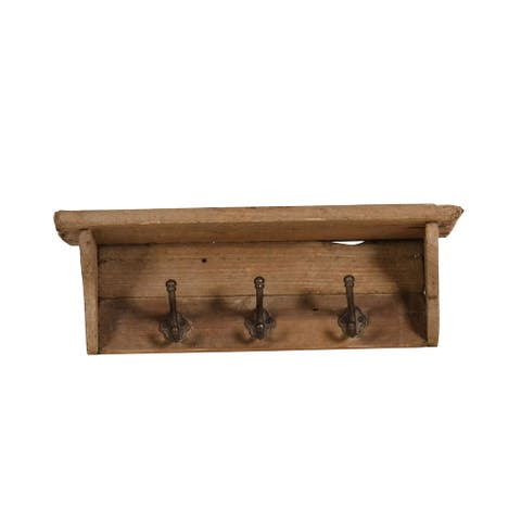 "Wood 21"" Wall Shelf with 3 Hooks, Brown"