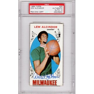 Kareem AbdulJabbar Milwaukee Bucks 196970 Topps Tall Boy Rookie Card 25 PSADNA Auto Grade 10