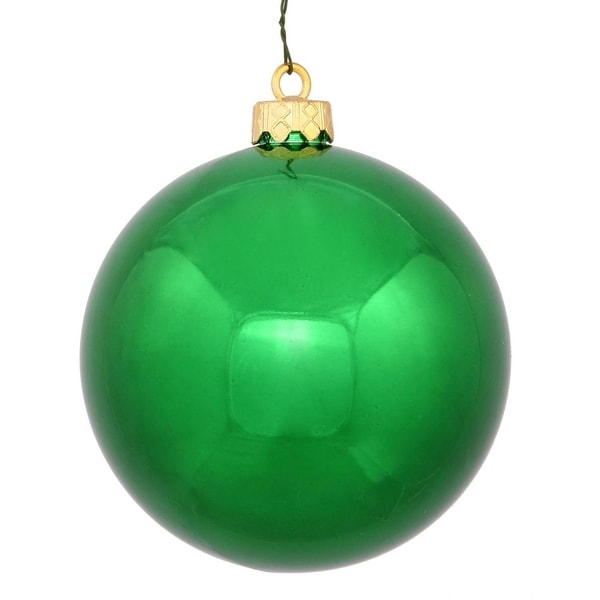 "Shiny Green UV Resistant Commercial Drilled Shatterproof Christmas Ball Ornament 2.75"" (70mm)"