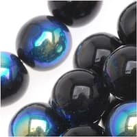 Czech Glass Druk Round Beads 8mm Jet AB (25)