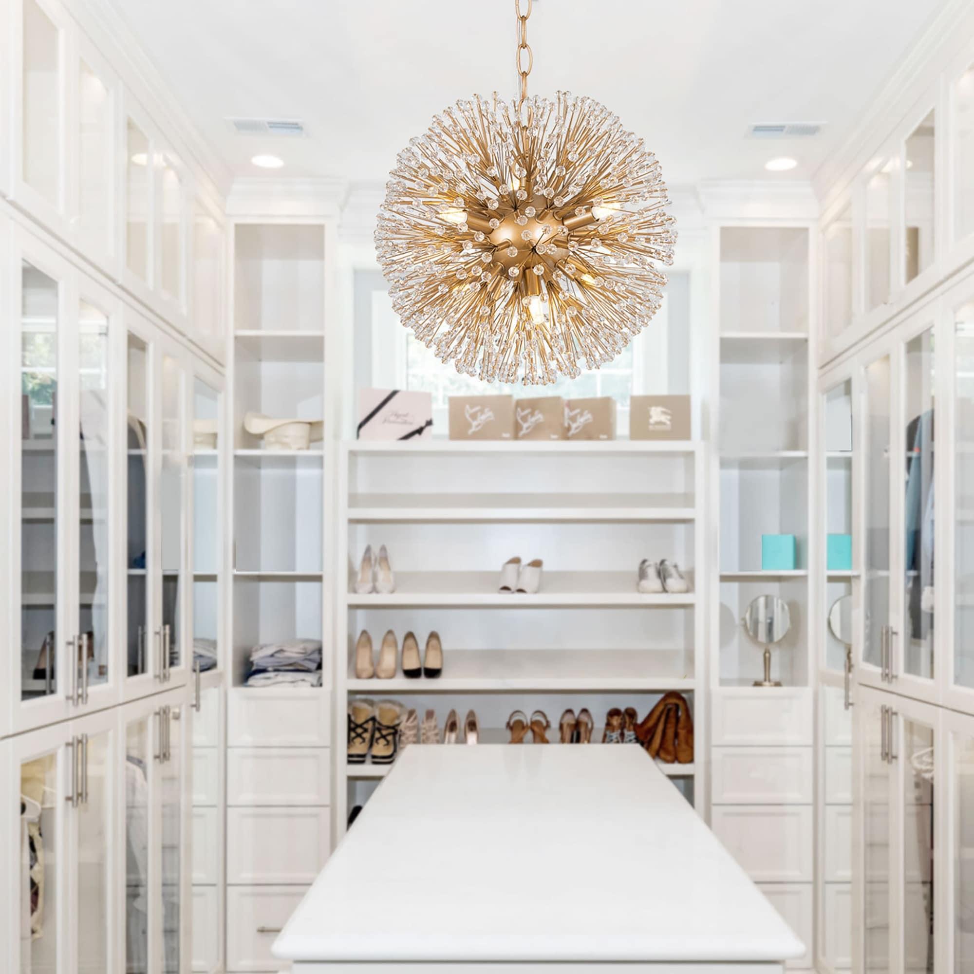Modern Gold Globe Crystal Dandelion Chandelier 6 Light Ceiling Hanging Pendant Lighting Fixture D14 X H14 Overstock 32969077