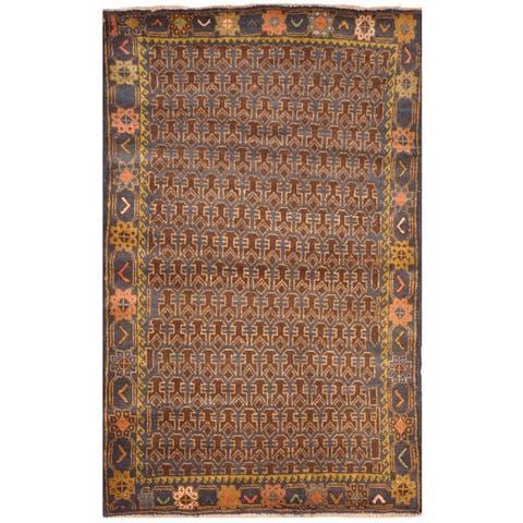 Handmade One-Of-A-Kind Tribal Balouchi Wool Rug (Afghanistan) - 3' x 4'6