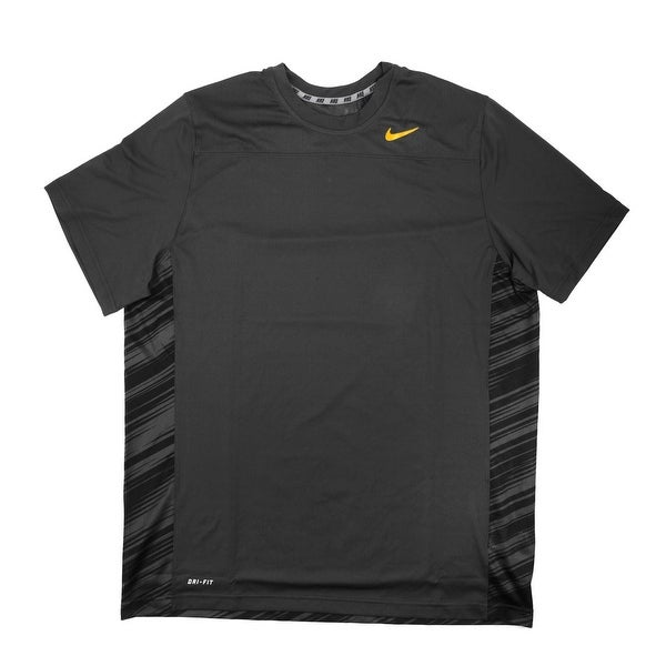 231a135559de6 Shop Nike Dri-FIT Men s Short Sleeve Charcoal Print Orange Logo Training  Shirt - Small - Free Shipping On Orders Over  45 - Overstock - 21293681