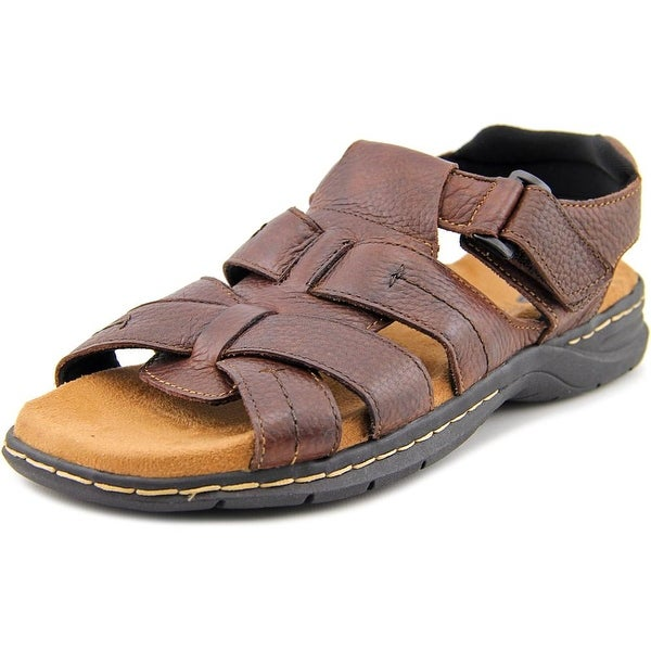 Dr. Scholl's Cain Men Open-Toe Leather Brown Fisherman Sandal