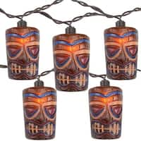 Set of 10 Tropical Paradise Brown Tiki Garden Patio Lights - Brown Wire