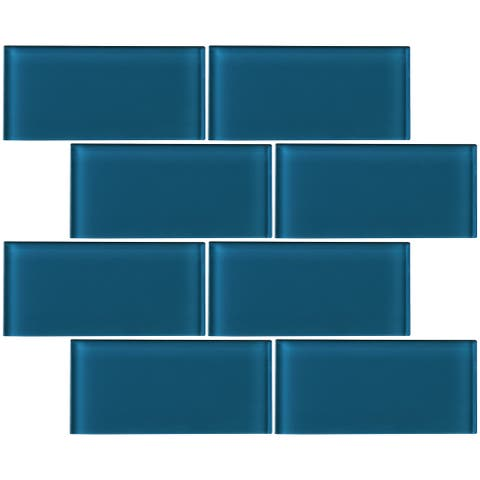 """TileGen. 3"""" x 6"""" Glass Subway Tile in Turquoise Blue Wall Tile (80 tiles/10sqft.)"""