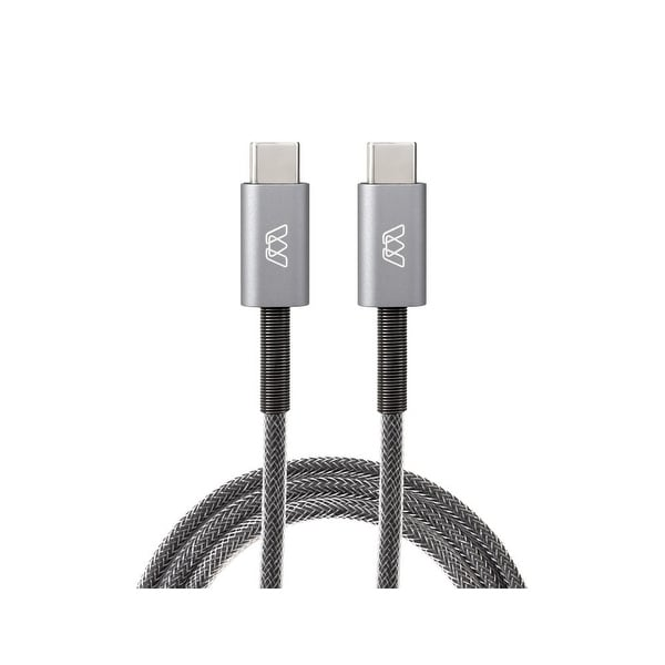 MOS Spring USB-C Cable USB-C to USB-C, Deep Grey, 3 ft.