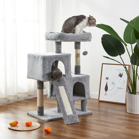 Cat Tree and Shelves Apartment with Sisal Grab Bar,Cat Tower Furniture