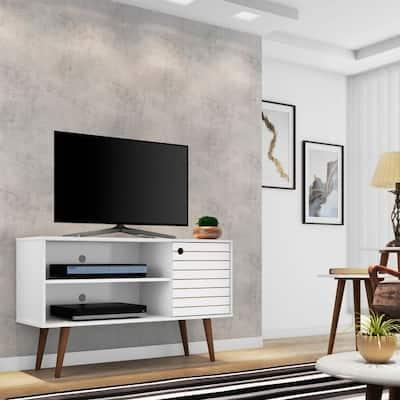 Mid-century Modern Liberty 2-shelf White TV Stand