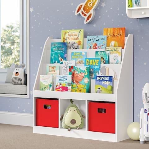 RiverRidge Home Kids Bookrack with Three Cubbies, White
