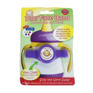 Baby Face Band Personal Waterproof Sippy Cup DIY ID Label Purple One Size - One size