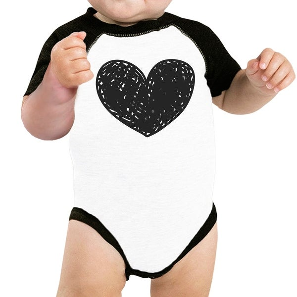Love Heart Baby Baseball Bodysuit Cute Family Graphic Tees For Gifts