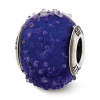 Italian Sterling Silver Reflections Dark Blue Textured Glass Bead (4mm Diameter Hole)