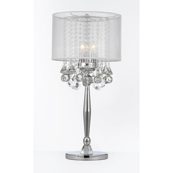 Shop Silver Mist 3 Light Chrome Crystal Table Lamp with Shade ...