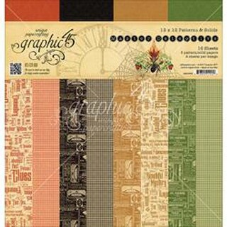 Master Detective Print/Solid; 12 Designs - Graphic 45 Double-Sided Paper 16/Pkg