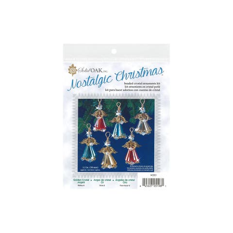 Nc021 solid oak kit beaded ornament crystal angels gold
