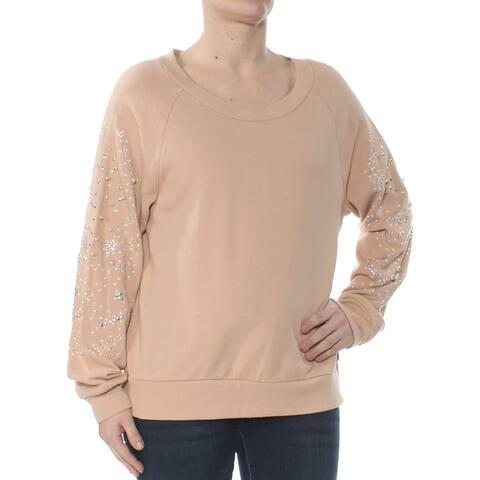 AMERICAN RAG Womens Beige Beaded Studded Long Sleeve Sweater Size S