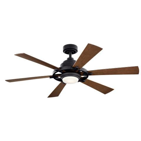 Kichler Iras 52 Inch LED Ceiling Fan Distressed Black with Walnut Blades