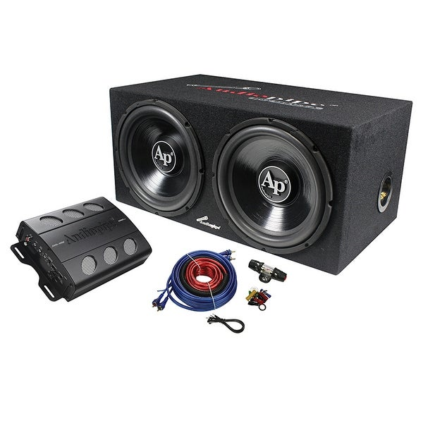 "Audiopipe Super Bass Combo pack 600W Max Dual 12"" Loaded Box Amp Amp Kit"
