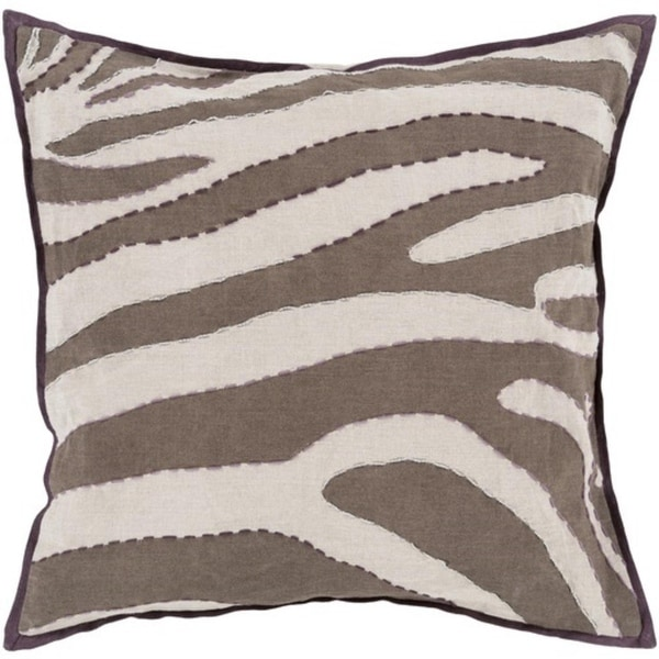 "18"" Taupe Brown, Beige and Silver Zebra Print Square Decorative Throw Pillow"