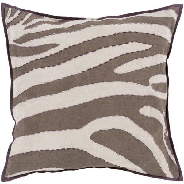 "22"" Taupe Brown, Beige and Silver Zebra Print Square Decorative Throw Pillow"