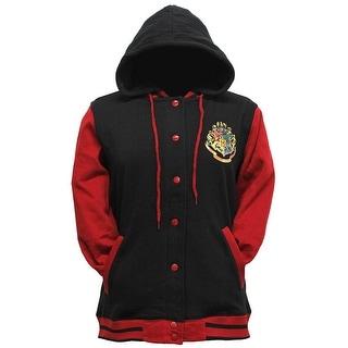 Harry Potter Hogwarts School Crest Junior's Button Up Varsity Hoodie
